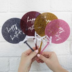 Laser Cut Birthday Balloon Glitter Black, Red, Gold & Pink Acrylic Cake Topper with Ribbon