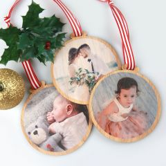 Personalised Colour Photo Printed Christmas Tree Decoration Present