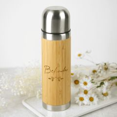 Personalised Engraved 500ml Bamboo Thermo Flask Birthday Present