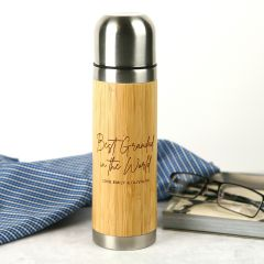 Personalised Engraved Father's Day 500ml Bamboo Thermo Flask Present