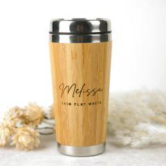 Personalised Engraved Christmas Named Bamboo Travel Mug Present