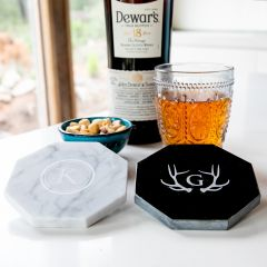Personalised Engraved Name Initials Octagonal Homeware Bar White Black Marble Coaster