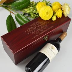 Personalised Engraved Wooden Stained Wine Box Birthday Gift Set