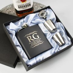 Personalised Engraved Black Birthday Hip Flask With Silver Shot Glasses