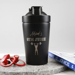 Personalised Engraved 600ml Stainless Steel Black Protein Shaker Birthday Present