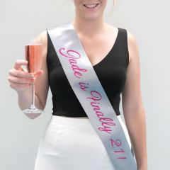 Personalised Silver Satin Sash with Pink Glitter Print Silver
