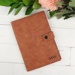 Personalised Engraved Monogrammed Tan Leatherette Birthday Passport Holder Present