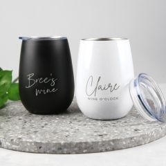 Personalised Engraved Black and White Stainless Steel Stemless Wine Sipper with Lid Birthday Present