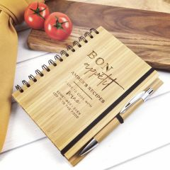 Personalised Engraved Bamboo Birthday Recipe Book with Pen