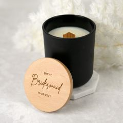 Personalised Engraved Bridal Party Black Wood Wick Soy Candle with Wooden Lid Present