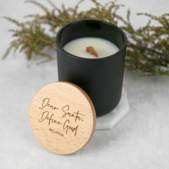 Personalised Engraved Black Christmas Wood Wick Soy Candle with Wooden Lid