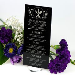 Personalised engraved black acrylic wedding reception guest menu