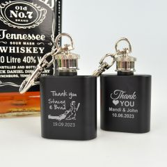 Matte Black Engraved Mini Hip Flask For Alcohol Wedding Favours
