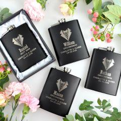 4x Personalised Engraved Bridal Party Groomsman Black Hip Flasks