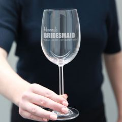 Personalised Engraved Bridesmaid Wedding Wine Glass Favours