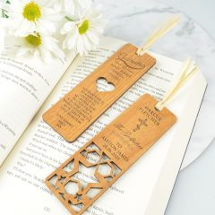 Personalised Engraved Laser Cut Godparent Wooden Bookmark Present for Christening, Baptisms & Naming Days