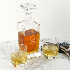 Personalised Engraved Groomsman Square Decanter with Scotch Glasses present