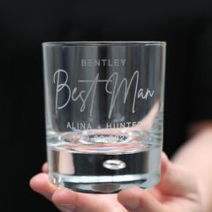 Custom Designed Engraved Wedding Round Scotch Glass