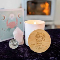 Personalised Engraved Wooden Lid Zodiac Soy Candle Cancer with Wood Wick
