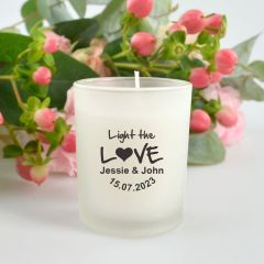 "Personalised Black Printed ""Light the Love"" Wedding Candle Favour"