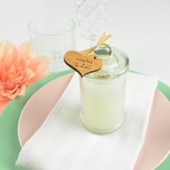 French tipped jasmine palm wax candle with personalised engraved wooden gift tag