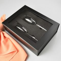 Twin Champagne Glass Presentation Gift Box With Magnetic Closing Lid