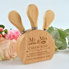 Engraved Cheese Knife Block Set Gift for Bride and Groom