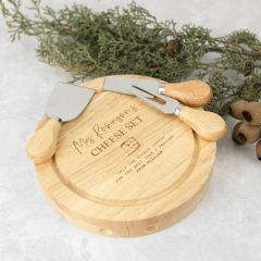 Personalised Engraved Round Wooden Cheese Knife Set Teacher's Gift