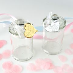 French tipped Glass Round Lolly Jars with Personalised Engraved Gold & Silver Acrylic Gift Tag- for Naming Days, Baptism, Christenings and Baby Showers