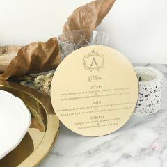Personalised Engraved Mirror Gold Baptism Reception Menu
