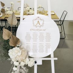 Personalised Engraved 60cm Round Acrylic Christening Baptism Welcome Seating Sign