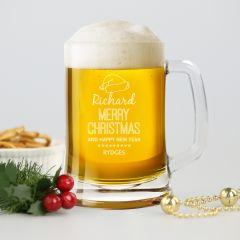 Personalised Engraved Christmas Corporate Beer Stein Mug Client Present