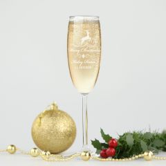 Personalised Engraved Corporate Christmas Champagne Glass Client Gift
