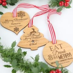 Christmas Engraved Wooden Decoration