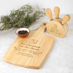Personalised Engraved Christmas Paddle Chopping Board + BONUS Cheese Knife Set