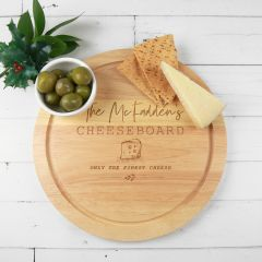 Personalised Engraved Round Wooden Christmas Cheese Board Christmas Present