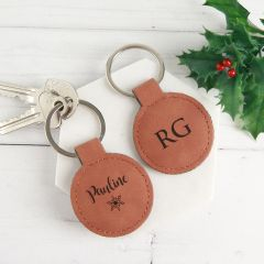 Personalised Engraved Christmas Tan Leatherette Keyring present