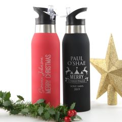 Personalised Engraved Red and Black Christmas Drink, Water Sports Bottle Present
