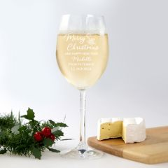 Personalised Engraved Corporate Christmas Wine Glass Client Present