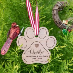 Personalised Engraved Wooden Pet Christmas Decoration