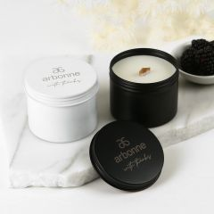 Personalised Engraved Corporate Logo White & Black Soy Tin Candles Client or Company Gift