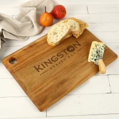 Engraved Corporate Logo Premium Rectangle Wooden Serving Cheese Chopping Board Client Employee Gift