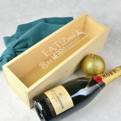Personalised Engraved Wooden Corporate Christmas Wine or Champagne Natural Wooden Box with clear Acrylic lid