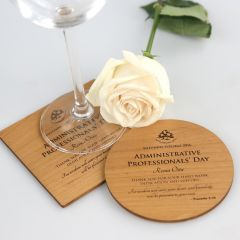 Personalised Engraved Wooden Coaster Corporate Appreciation Client Gift