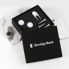 Personalised Engraved Corporate Black Leatherette Golf Gift Set