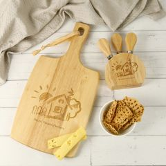 Engraved Paddle Board with Cheese Knife Set Corporate Gift