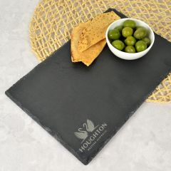 Personalised Engraved Company Logo Rectangle Slate Cheese Chopping Board Corporate Gift