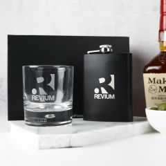 Personalised Engraved Gift Boxed Corporate Round Scotch Glass and Black 7oz Hip Flask