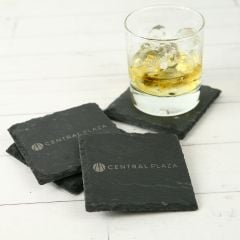 Engraved Corporate Logo on Premium Slate Grey Coasters