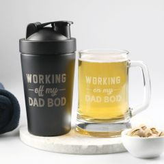 Personalised Engraved Father's Day 'Working on my Dad Bod' Protein Shaker and Beer Mug Set